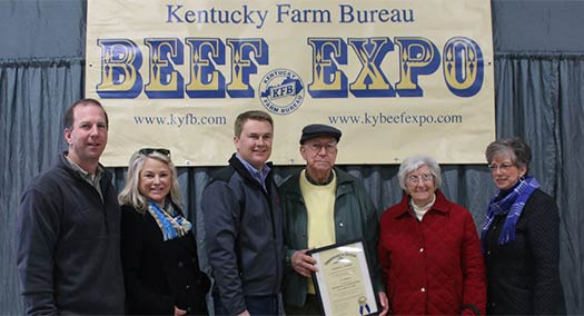 J.L. receiving the Honorary Commissioner of Agriculture Award from Kentucky Agriculture Commissioner