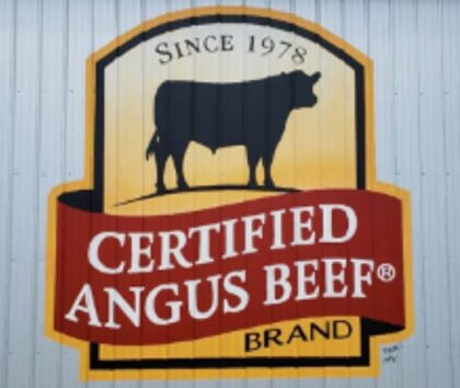 Official Certified Angus Beef logo painted on barn